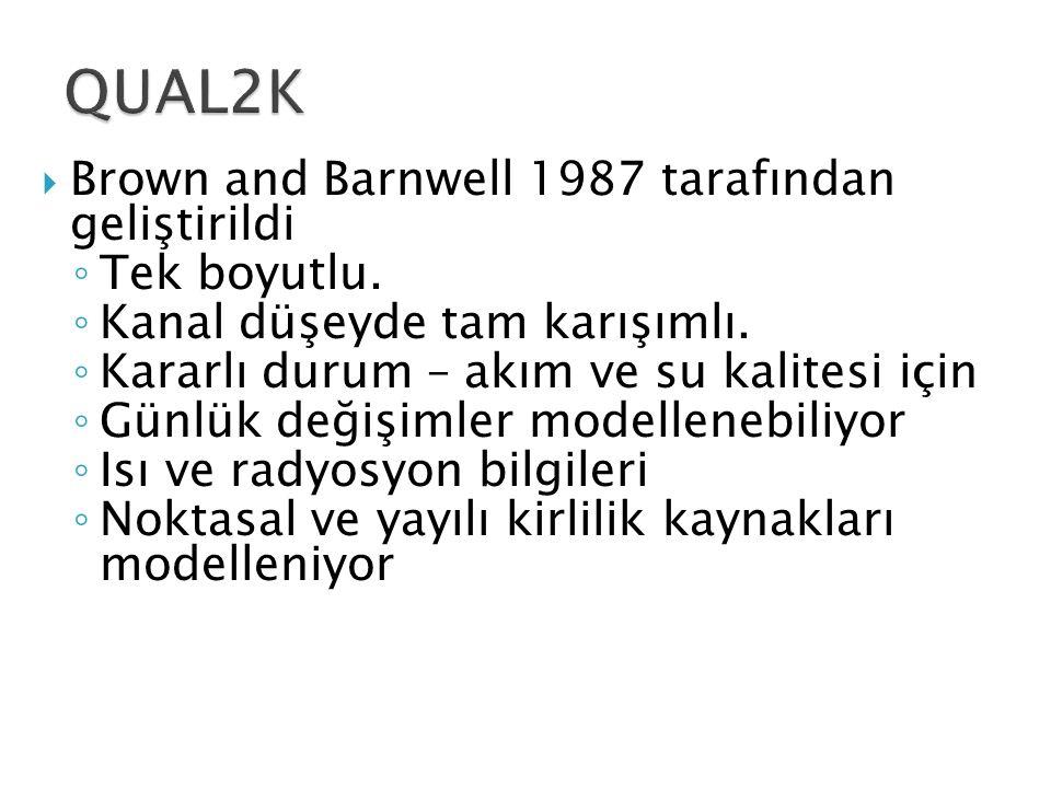 QUAL2K Brown and Barnwell 1987 tarafından geliştirildi Tek boyutlu.