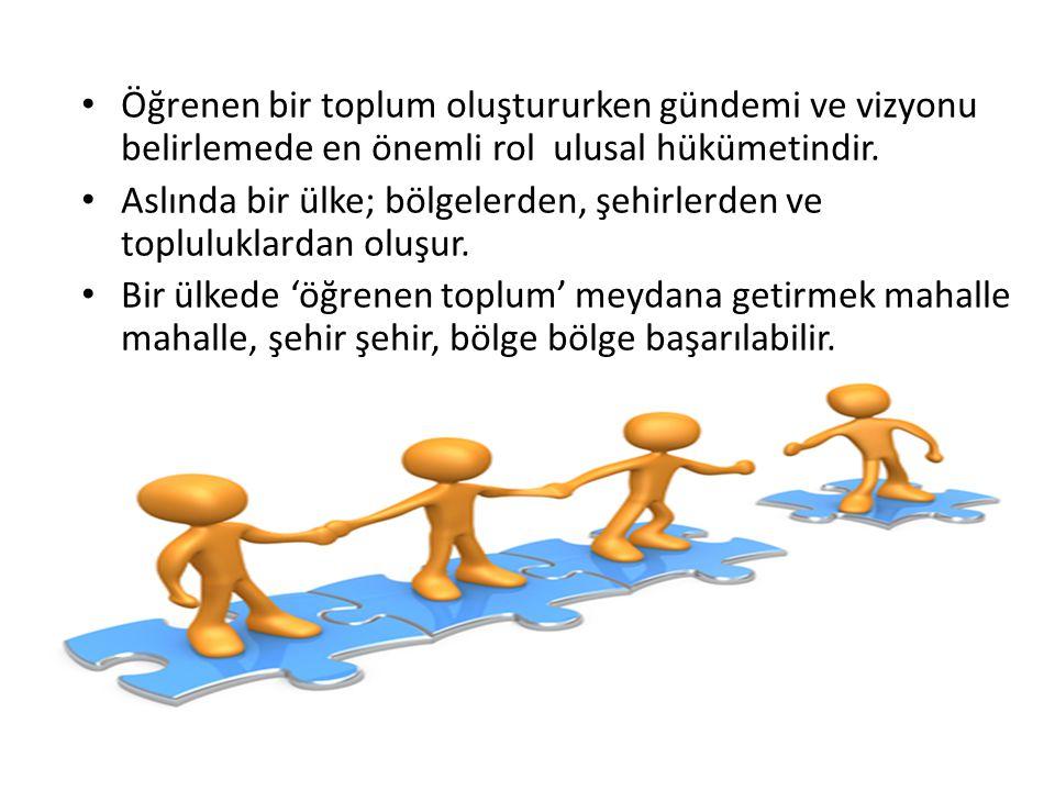 Öğrenen bir toplum oluştururken gündemi ve vizyonu belirlemede en önemli rol ulusal hükümetindir.
