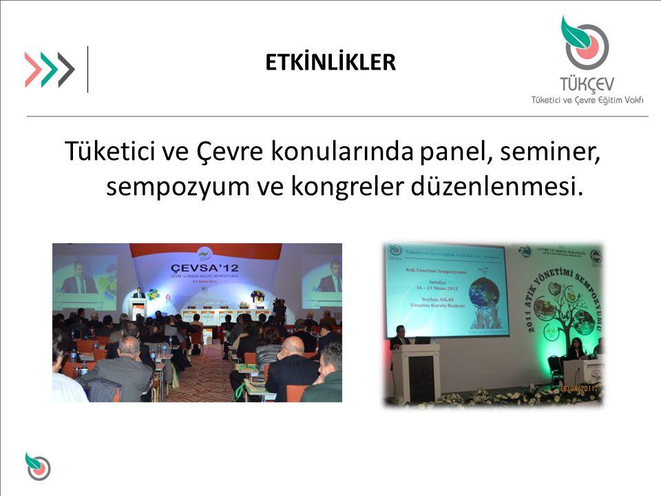 ETKİNLİKLER Tüketici ve Çevre konularında panel, seminer, sempozyum ve kongreler düzenlenmesi.
