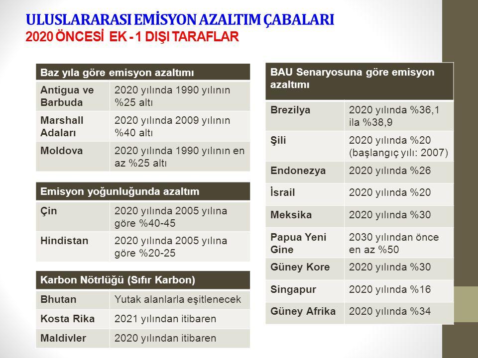 ULUSLARARASI EMİSYON AZALTIM ÇABALARI 2020 ÖNCESİ EK - 1 DIŞI TARAFLAR