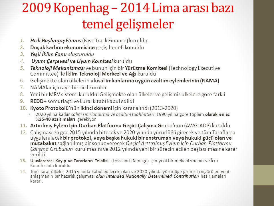 2009 Kopenhag – 2014 Lima arası bazı temel gelişmeler