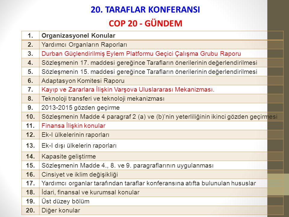 20. TARAFLAR KONFERANSI COP 20 - GÜNDEM