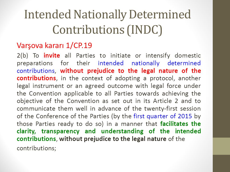 Intended Nationally Determined Contributions (INDC)