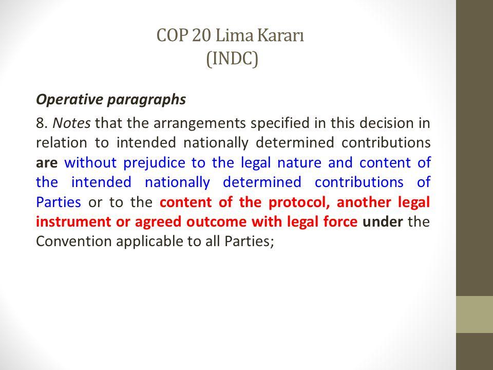 COP 20 Lima Kararı (INDC)