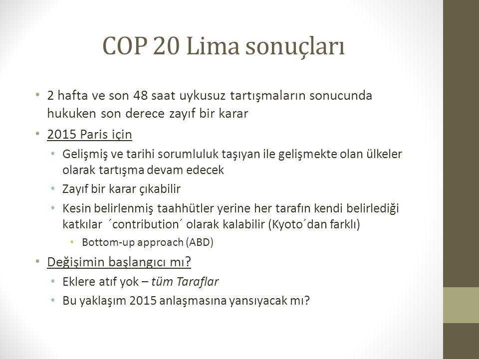COP 20 Lima sonuçları 2 hafta ve son 48 saat uykusuz tartışmaların sonucunda hukuken son derece zayıf bir karar.