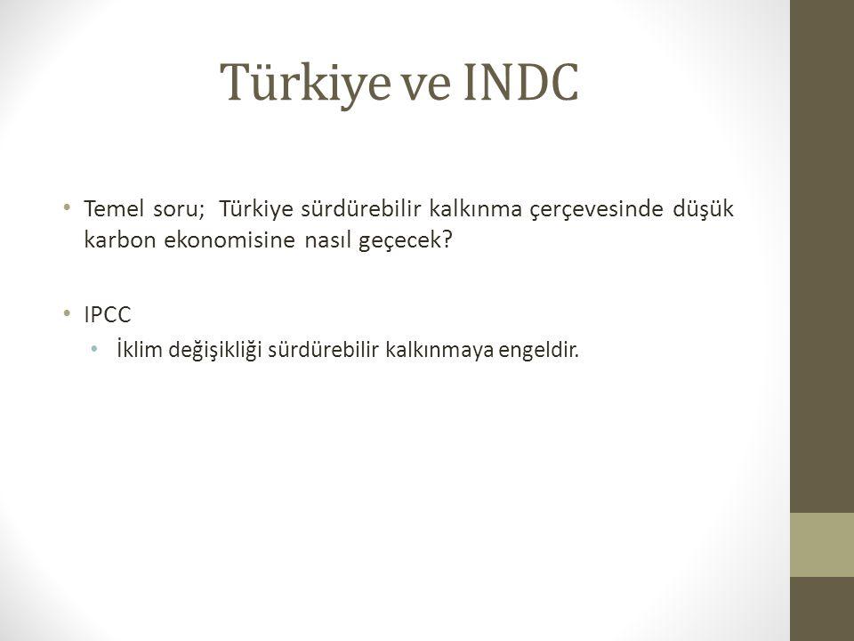 Türkiye ve INDC Temel soru; Türkiye sürdürebilir kalkınma çerçevesinde düşük karbon ekonomisine nasıl geçecek