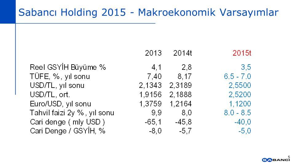 Sabancı Holding 2015 - Makroekonomik Varsayımlar