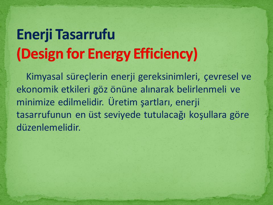 Enerji Tasarrufu (Design for Energy Efficiency)