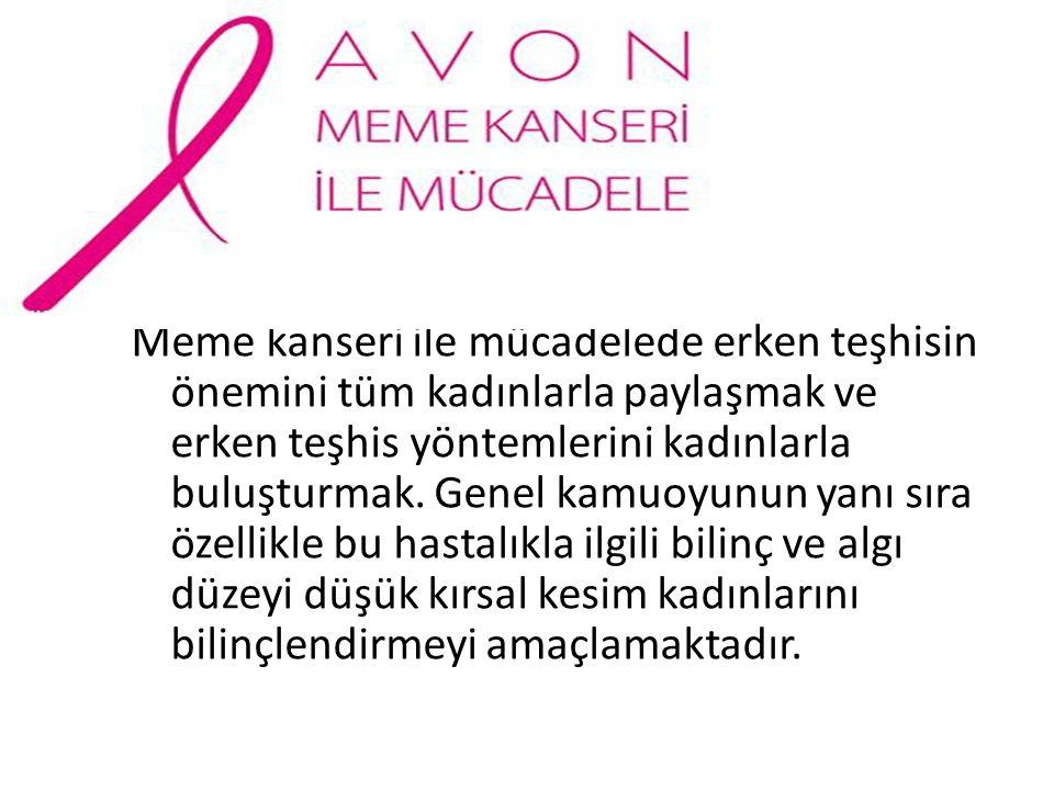 Meme kanseri ile mücadelede erken teşhisin önemini tüm kadınlarla paylaşmak ve erken teşhis yöntemlerini kadınlarla buluşturmak.