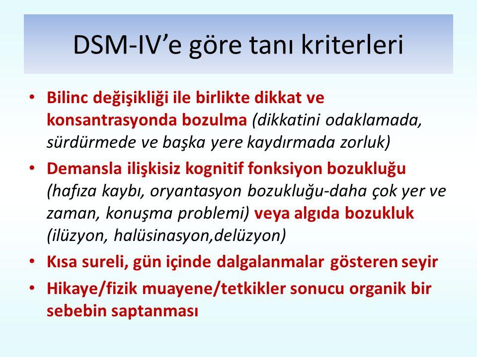 DSM-IV'e göre tanı kriterleri