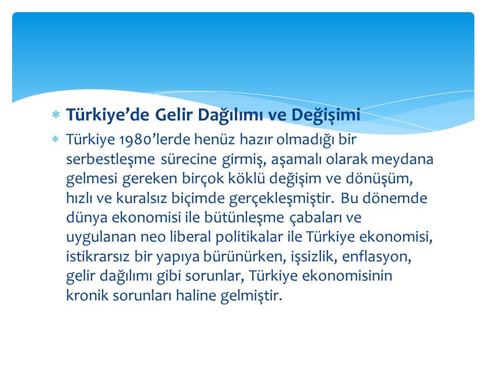 Türkiye'de Gelir Dağılımı ve Değişimi