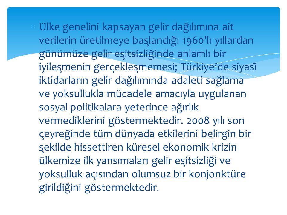 Ülke genelini kapsayan gelir dağılımına ait verilerin üretilmeye başlandığı 1960'lı yıllardan günümüze gelir eşitsizliğinde anlamlı bir iyileşmenin gerçekleşmemesi; Türkiye'de siyasî iktidarların gelir dağılımında adaleti sağlama ve yoksullukla mücadele amacıyla uygulanan sosyal politikalara yeterince ağırlık vermediklerini göstermektedir.