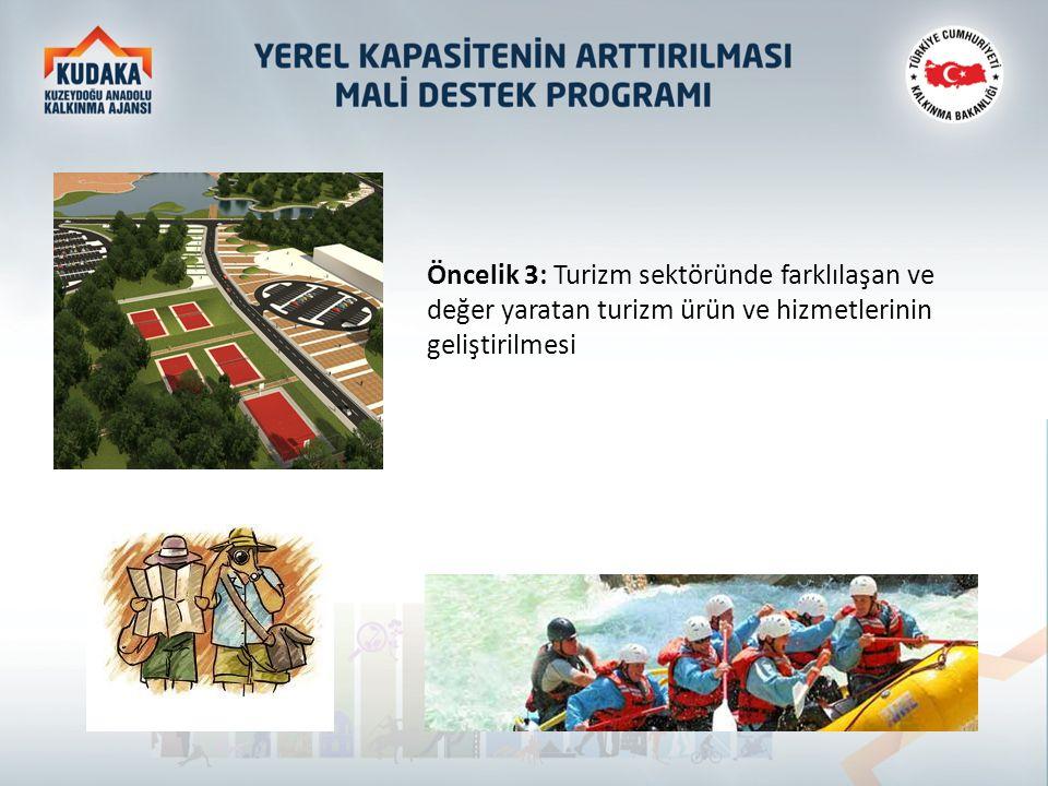 Öncelik 3: Turizm sektöründe farklılaşan ve değer yaratan turizm ürün ve hizmetlerinin geliştirilmesi