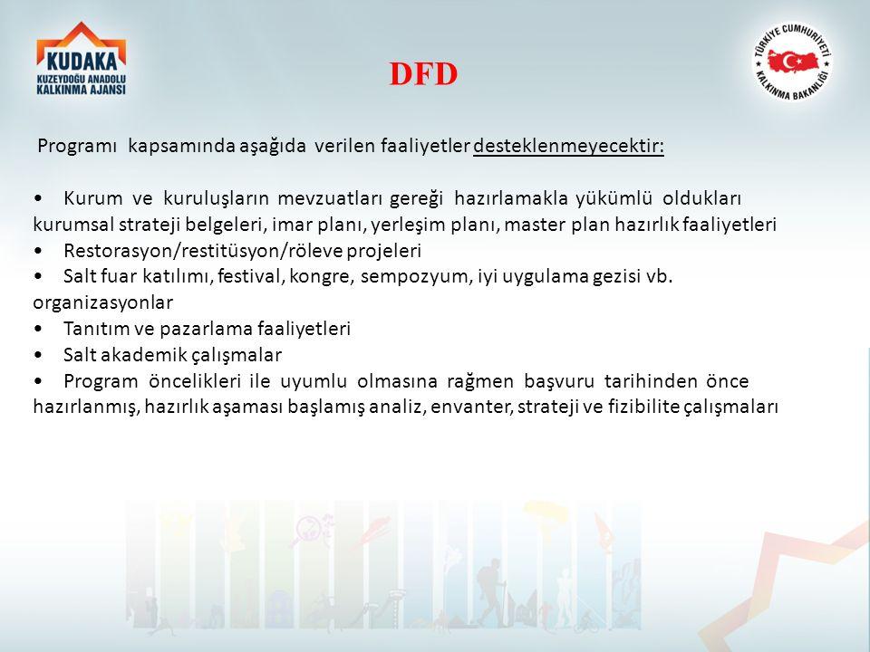DFD Programı kapsamında aşağıda verilen faaliyetler desteklenmeyecektir: