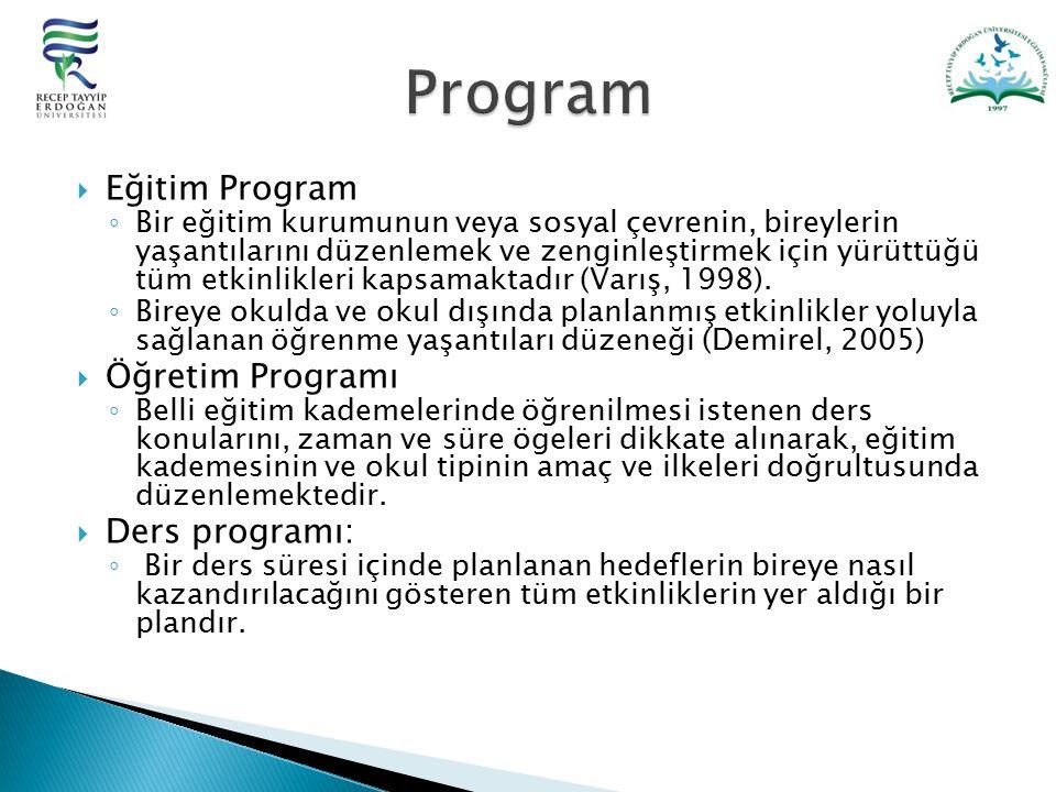 Program Eğitim Program Öğretim Programı Ders programı: