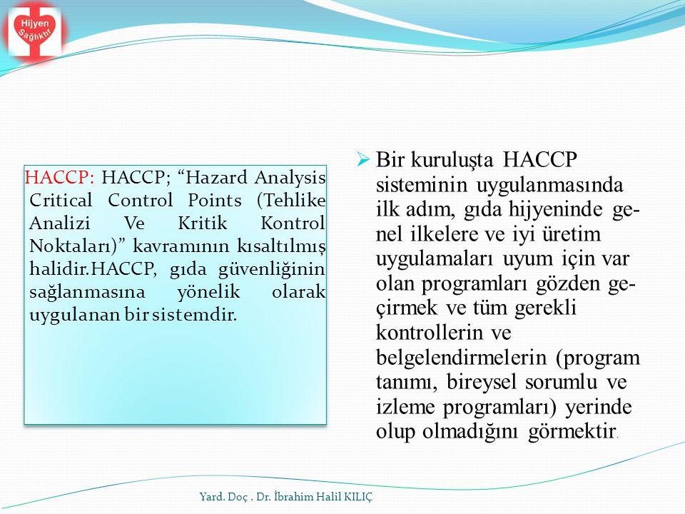Bir kuruluşta HACCP sisteminin uygulanmasında ilk adım, gıda hijyeninde genel ilkelere ve iyi üretim uygulamaları uyum için var olan programları gözden geçirmek ve tüm gerekli kontrollerin ve belgelendirmelerin (program tanımı, bireysel sorumlu ve izleme programları) yerinde olup olmadığını görmektir.