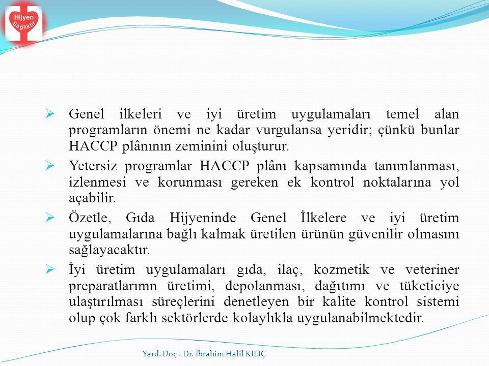 Genel ilkeleri ve iyi üretim uygulamaları temel alan programların önemi ne kadar vurgulansa yeridir; çünkü bunlar HACCP plânının zeminini oluşturur.