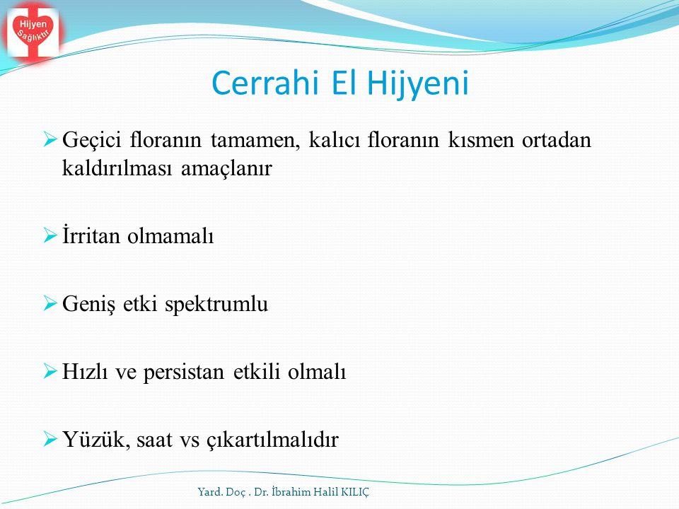 Cerrahi El Hijyeni Geçici floranın tamamen, kalıcı floranın kısmen ortadan kaldırılması amaçlanır. İrritan olmamalı.