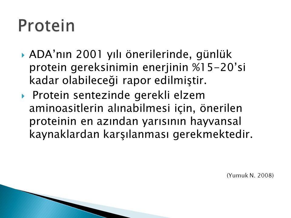 Protein ADA'nın 2001 yılı önerilerinde, günlük protein gereksinimin enerjinin %15-20'si kadar olabileceği rapor edilmiştir.