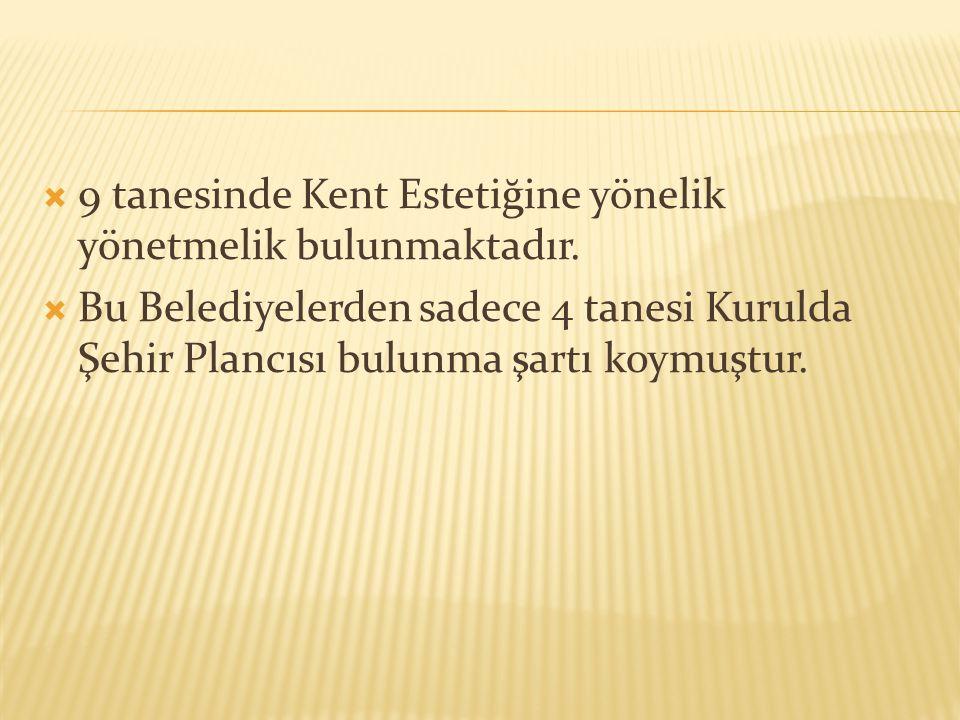9 tanesinde Kent Estetiğine yönelik yönetmelik bulunmaktadır.