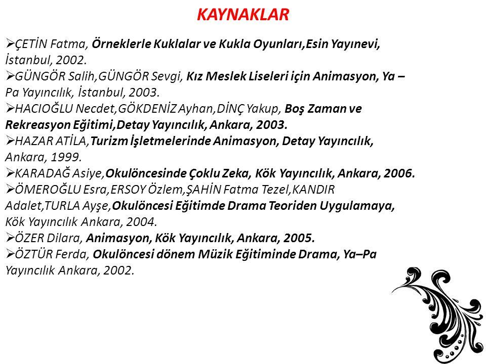KAYNAKLAR ÇETİN Fatma, Örneklerle Kuklalar ve Kukla Oyunları,Esin Yayınevi, İstanbul, 2002.