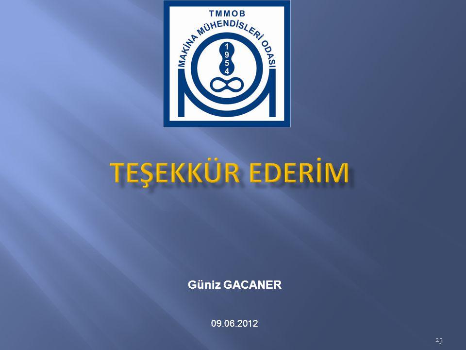 TEŞEKKÜR EDERİM Güniz GACANER 09.06.2012