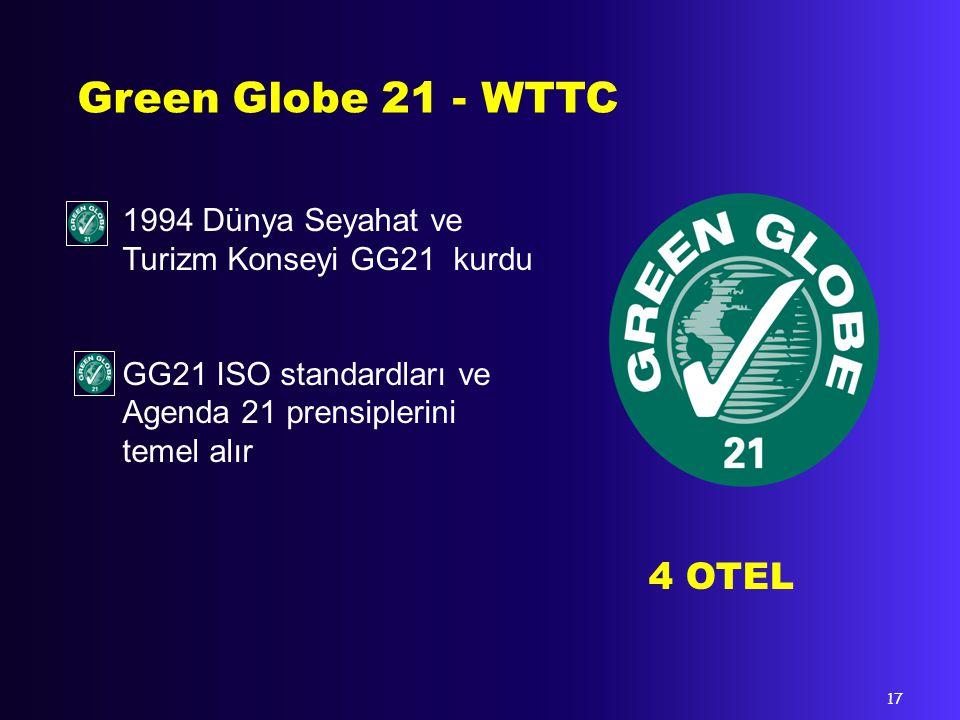 Green Globe 21 - WTTC 1994 Dünya Seyahat ve Turizm Konseyi GG21 kurdu. GG21 ISO standardları ve Agenda 21 prensiplerini temel alır.