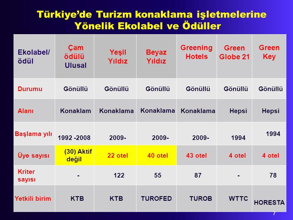 Türkiye'de Turizm konaklama işletmelerine Yönelik Ekolabel ve Ödüller
