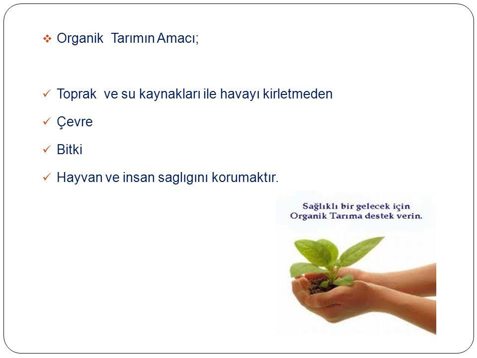 Organik Tarımın Amacı;