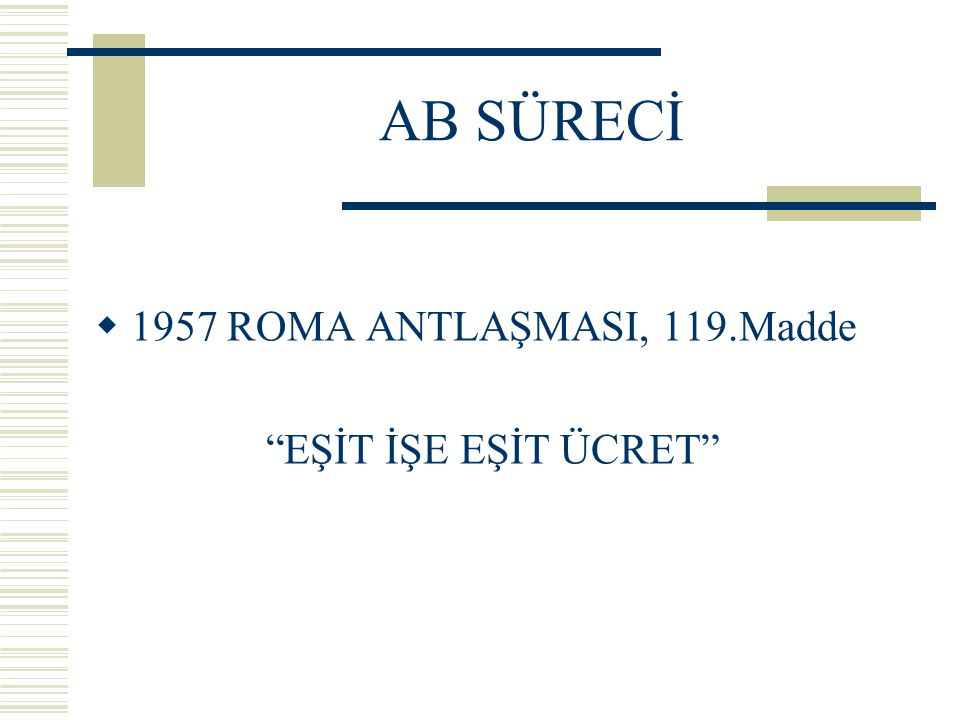 AB SÜRECİ 1957 ROMA ANTLAŞMASI, 119.Madde EŞİT İŞE EŞİT ÜCRET