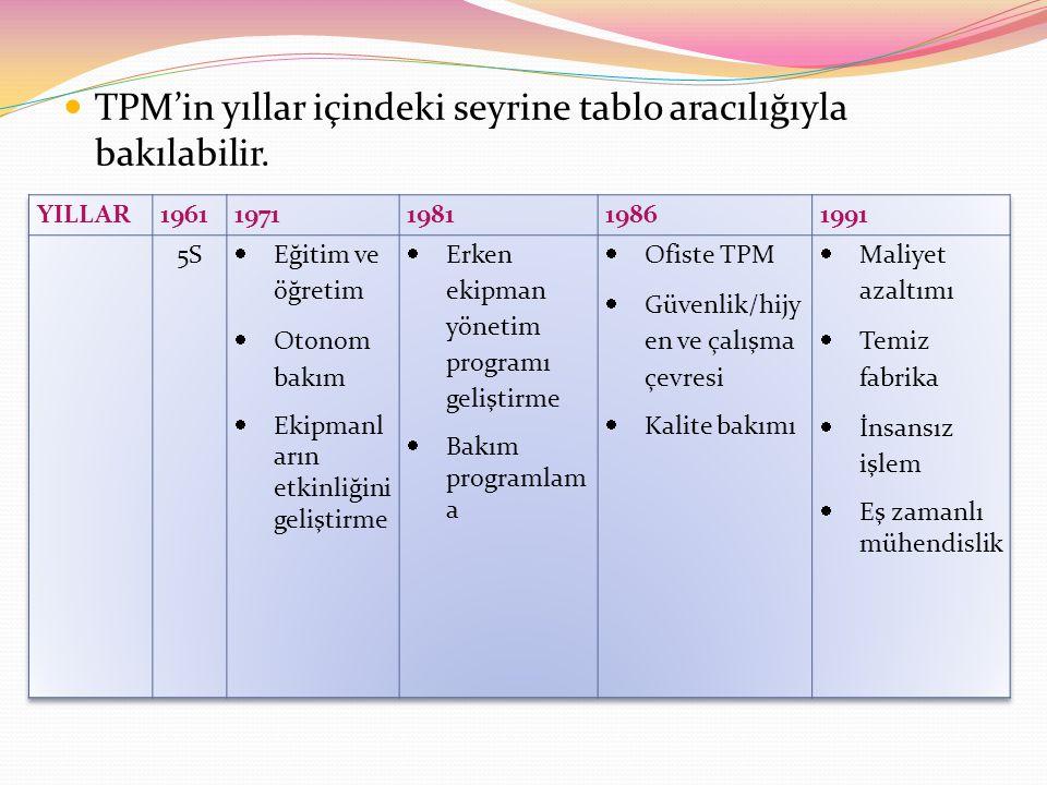 TPM'in yıllar içindeki seyrine tablo aracılığıyla bakılabilir.
