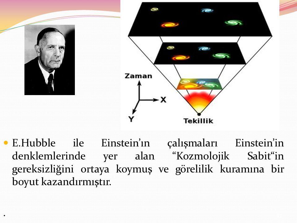 E.Hubble ile Einstein'ın çalışmaları Einstein'in denklemlerinde yer alan Kozmolojik Sabit in gereksizliğini ortaya koymuş ve görelilik kuramına bir boyut kazandırmıştır.