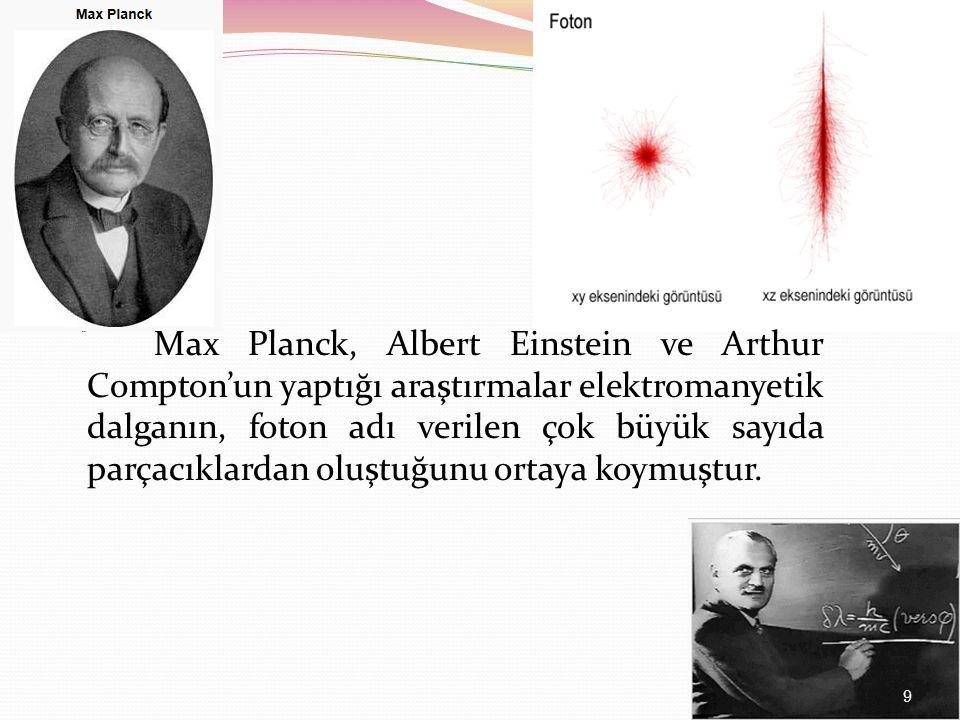 Max Planck, Albert Einstein ve Arthur Compton'un yaptığı araştırmalar elektromanyetik dalganın, foton adı verilen çok büyük sayıda parçacıklardan oluştuğunu ortaya koymuştur.
