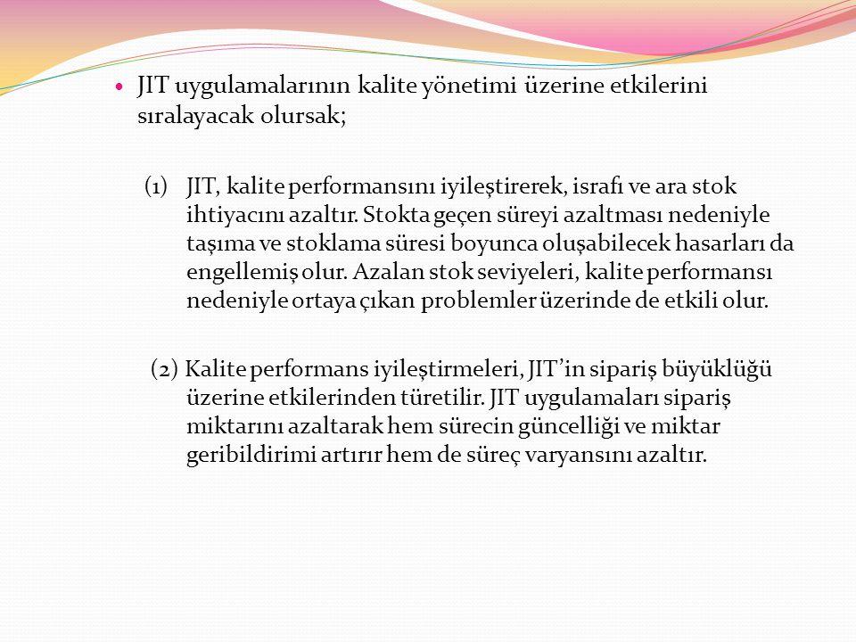 JIT uygulamalarının kalite yönetimi üzerine etkilerini sıralayacak olursak;