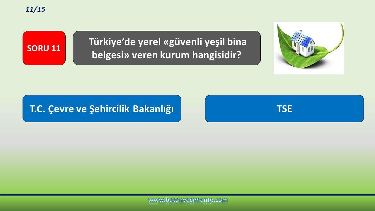 Türkiye'de yerel «güvenli yeşil bina belgesi» veren kurum hangisidir