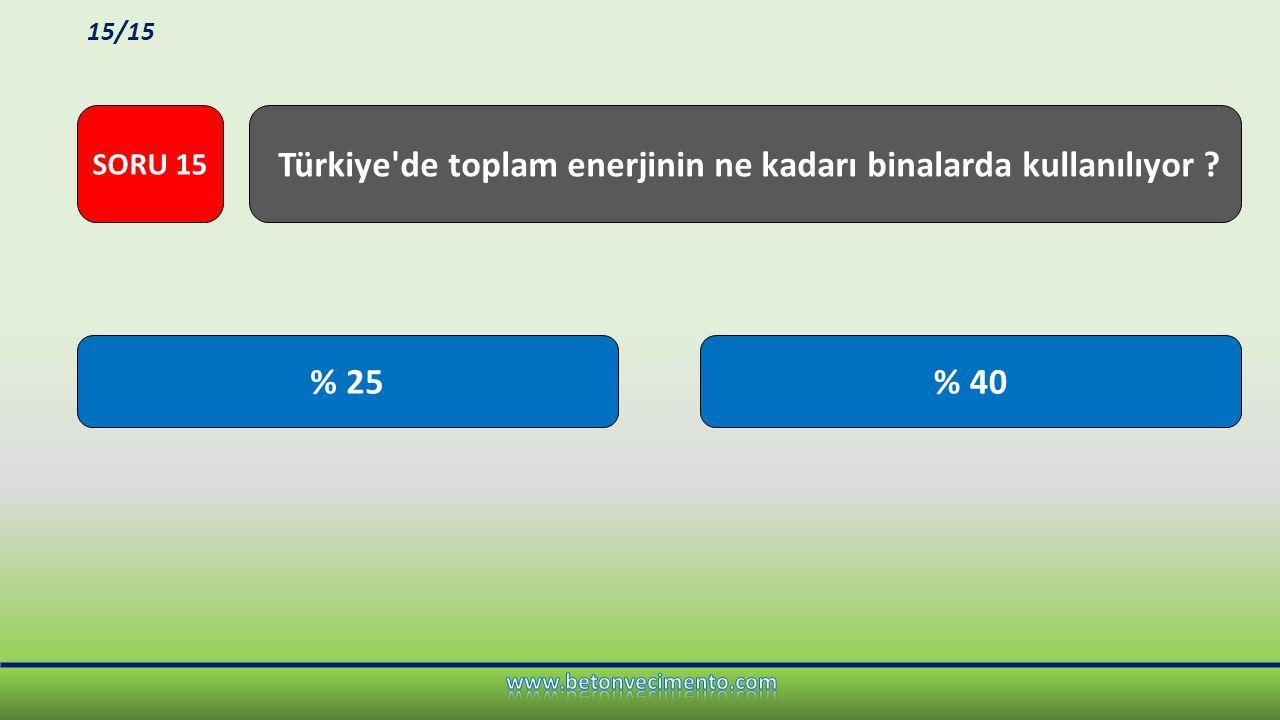 Türkiye de toplam enerjinin ne kadarı binalarda kullanılıyor