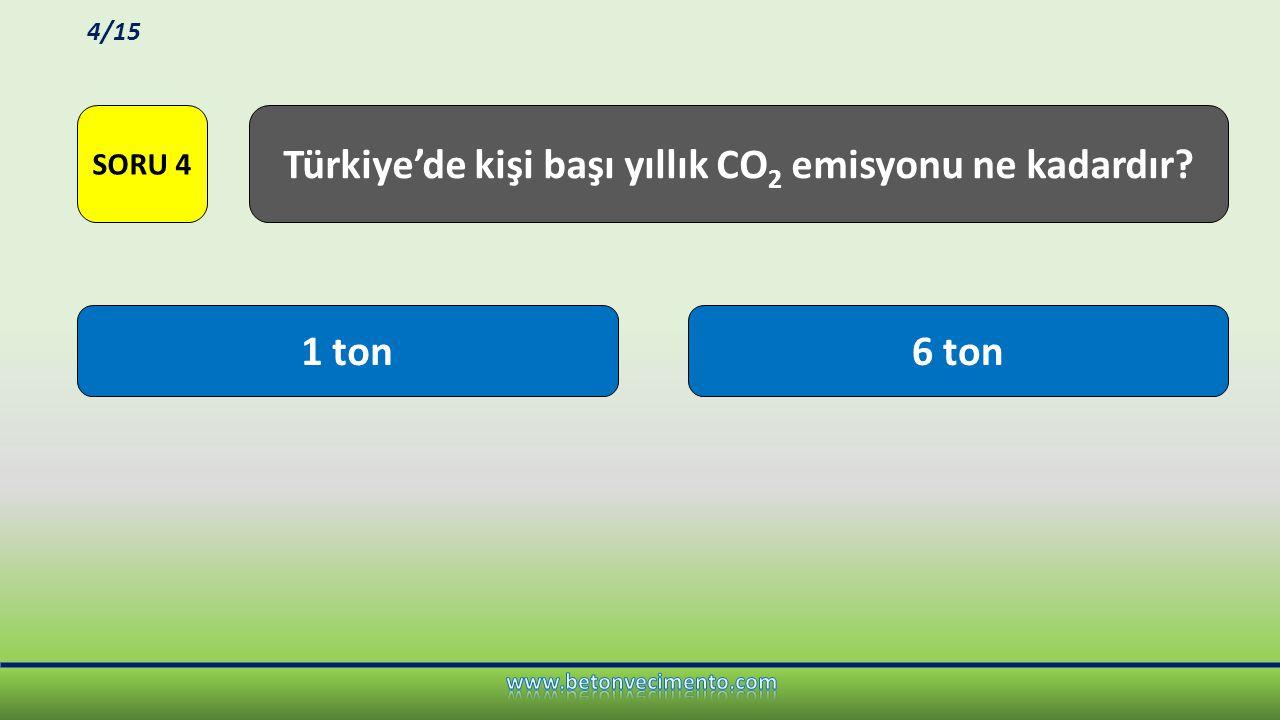 Türkiye'de kişi başı yıllık CO2 emisyonu ne kadardır