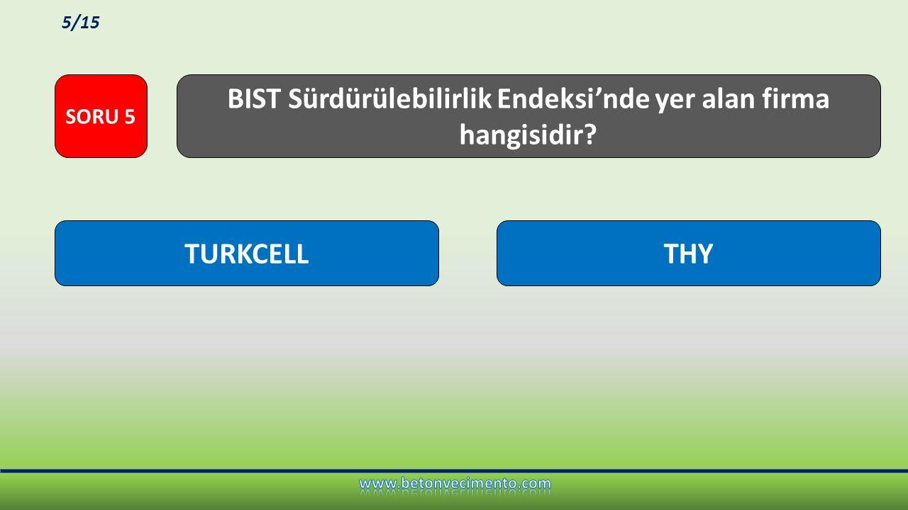 BIST Sürdürülebilirlik Endeksi'nde yer alan firma hangisidir