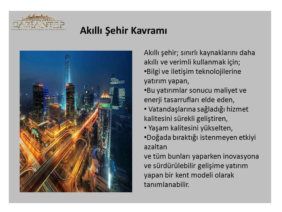 Akıllı Şehir Kavramı Akıllı şehir; sınırlı kaynaklarını daha akıllı ve verimli kullanmak için; Bilgi ve iletişim teknolojilerine yatırım yapan,