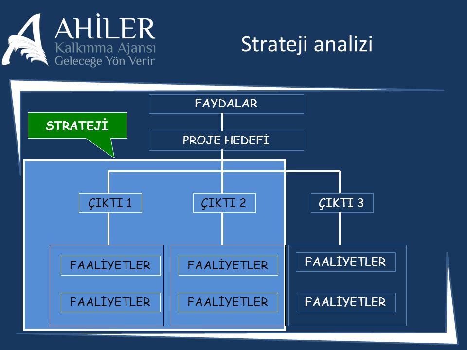 Strateji analizi FAYDALAR STRATEJİ PROJE HEDEFİ ÇIKTI 1 ÇIKTI 2