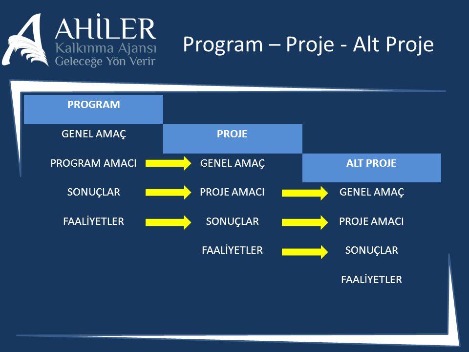 Program – Proje - Alt Proje
