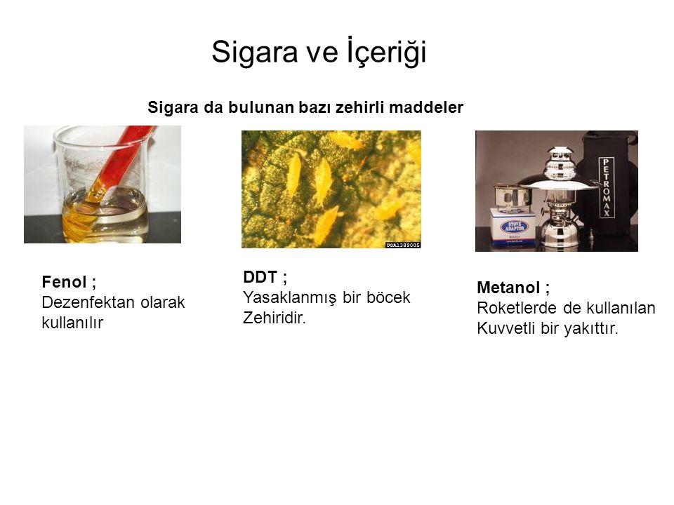 Sigara ve İçeriği Sigara da bulunan bazı zehirli maddeler DDT ;