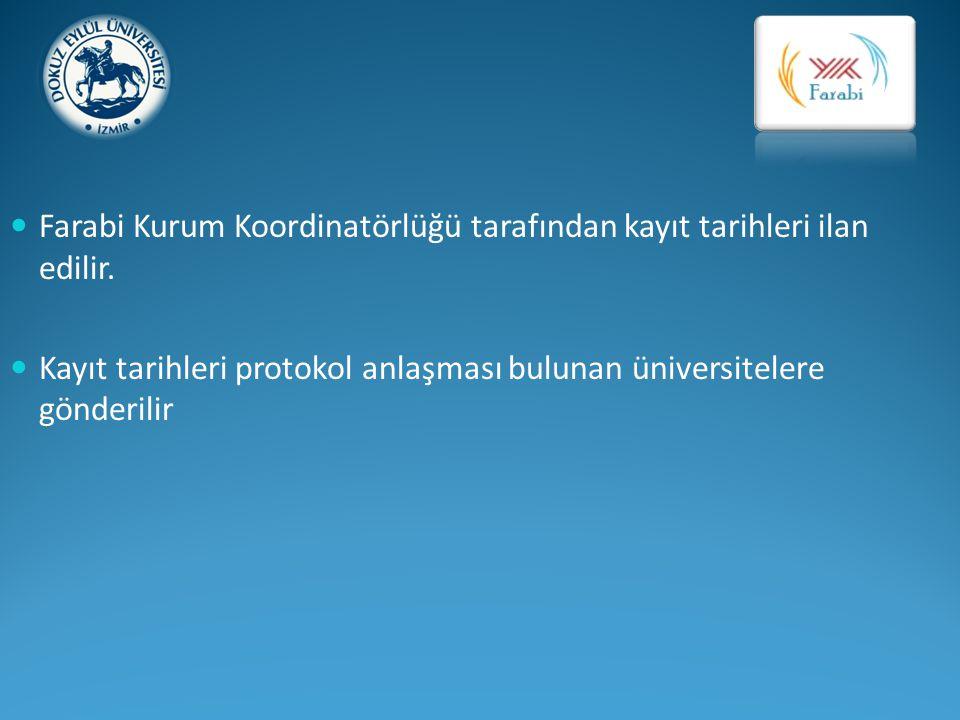 Farabi Kurum Koordinatörlüğü tarafından kayıt tarihleri ilan edilir.