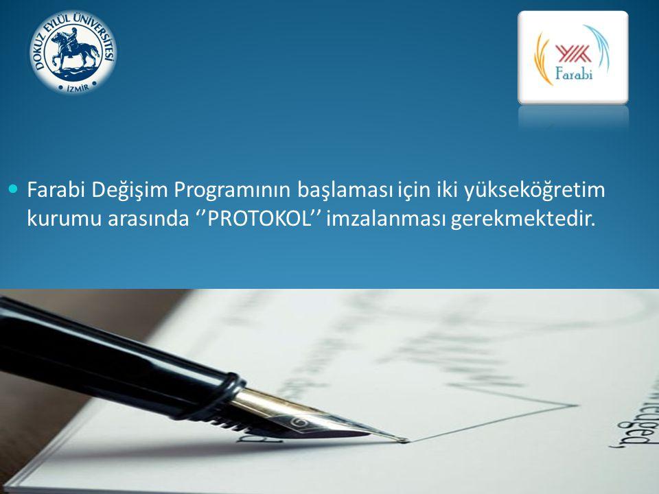 Farabi Değişim Programının başlaması için iki yükseköğretim kurumu arasında ''PROTOKOL'' imzalanması gerekmektedir.