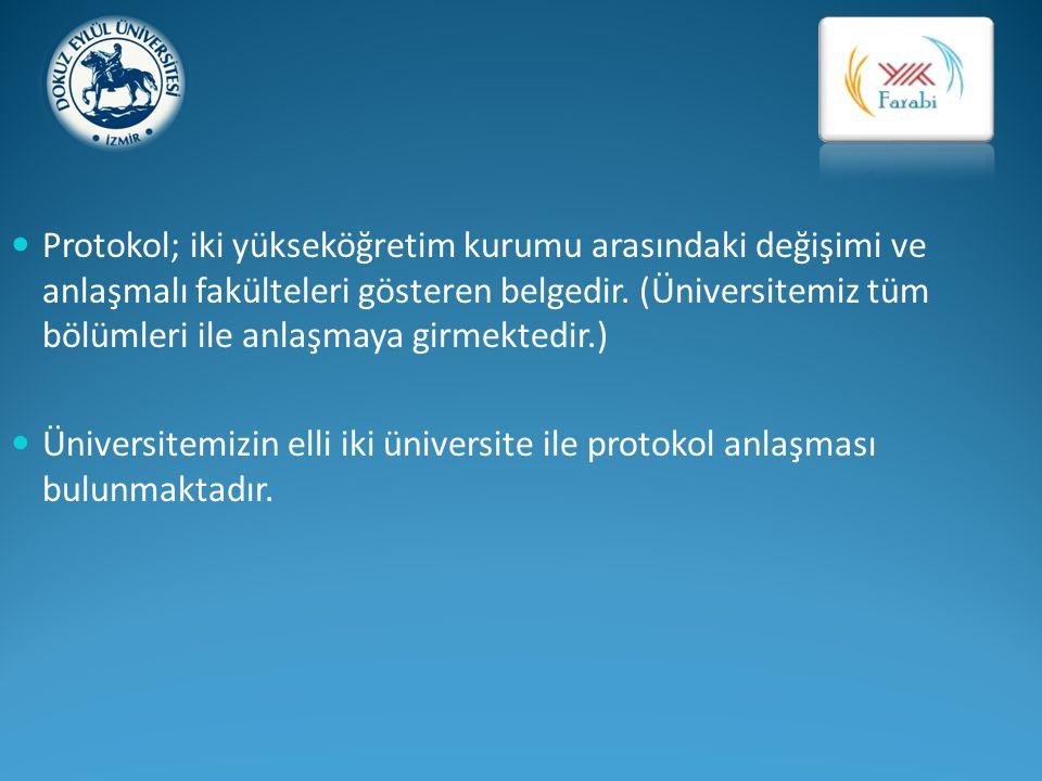 Protokol; iki yükseköğretim kurumu arasındaki değişimi ve anlaşmalı fakülteleri gösteren belgedir. (Üniversitemiz tüm bölümleri ile anlaşmaya girmektedir.)