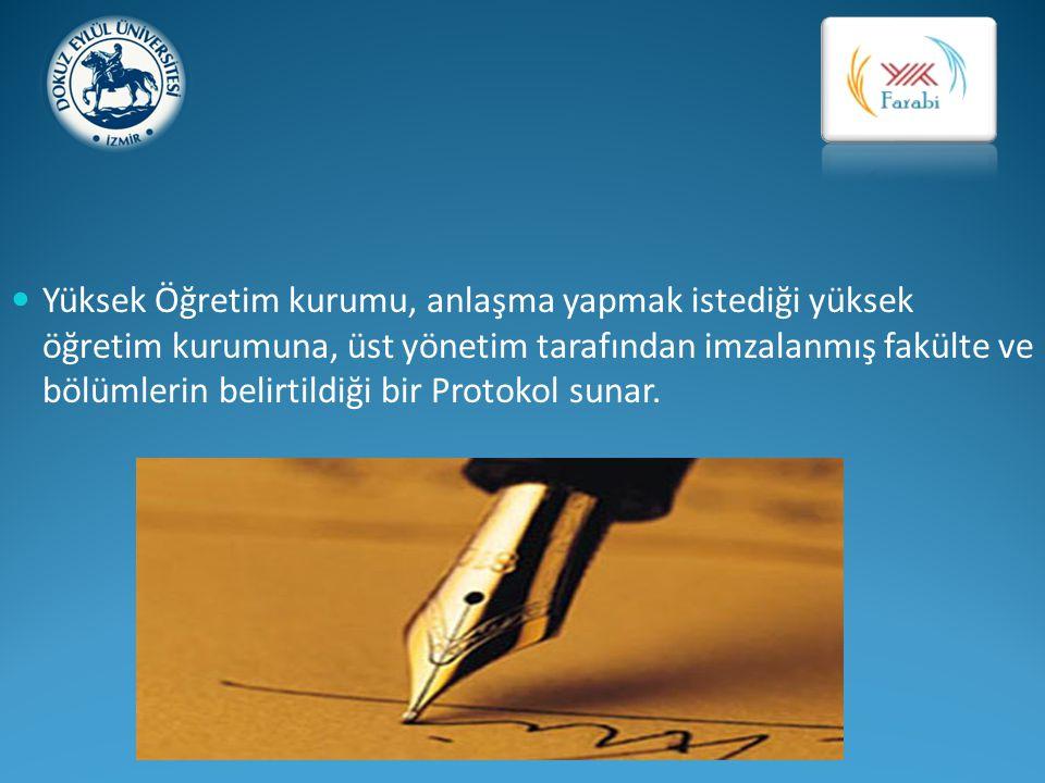 Yüksek Öğretim kurumu, anlaşma yapmak istediği yüksek öğretim kurumuna, üst yönetim tarafından imzalanmış fakülte ve bölümlerin belirtildiği bir Protokol sunar.