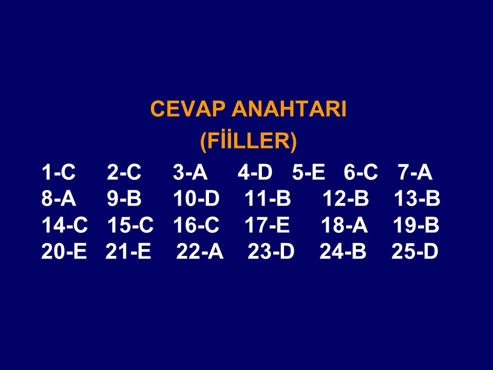 CEVAP ANAHTARI (FİİLLER)