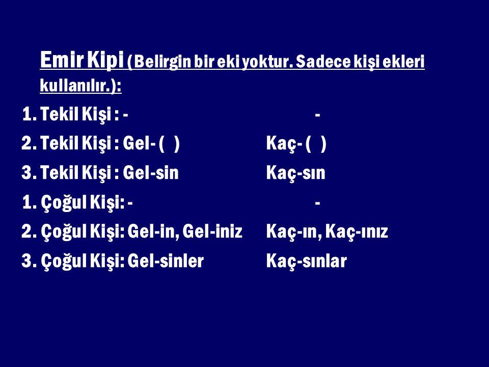 Emir Kipi (Belirgin bir eki yoktur. Sadece kişi ekleri kullanılır.):