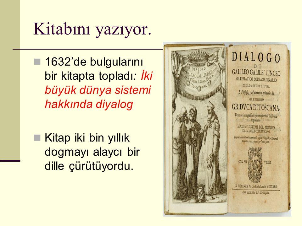 Kitabını yazıyor. 1632'de bulgularını bir kitapta topladı: İki büyük dünya sistemi hakkında diyalog.