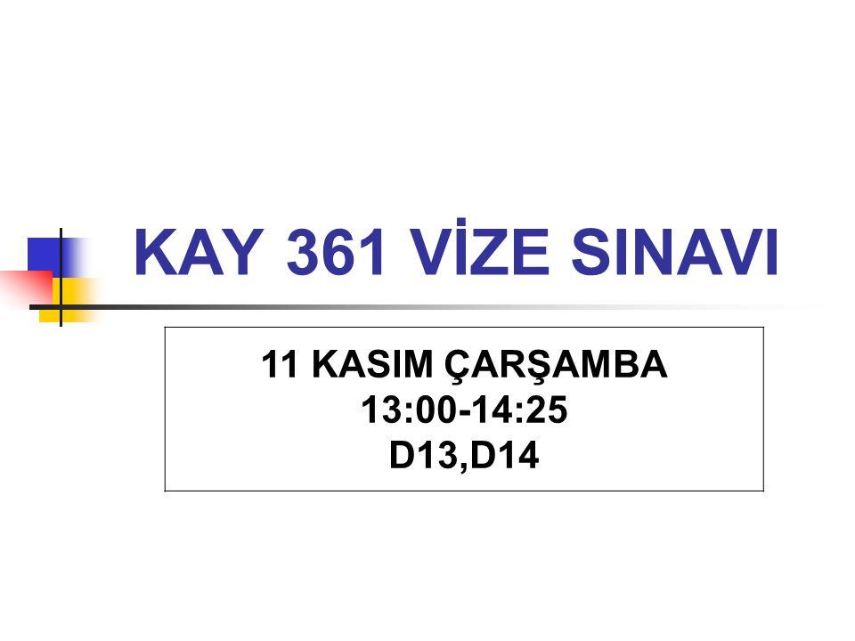 KAY 361 VİZE SINAVI 11 KASIM ÇARŞAMBA 13:00-14:25 D13,D14